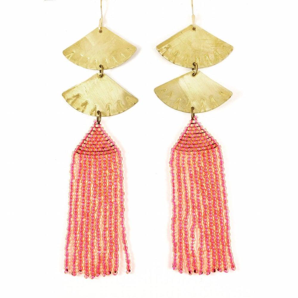 Image of Pink Fan Tassel Earrings