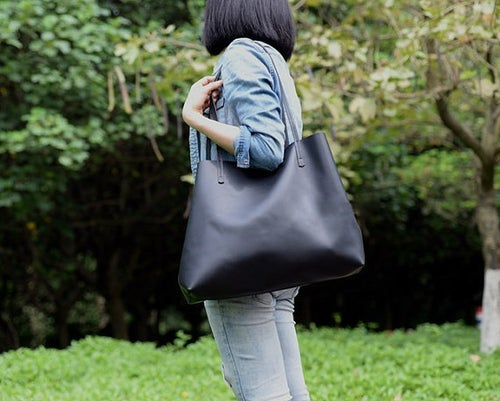 Image of Handmade Vegetable Tanned Full Grain Leather Women Tote Bag, Shopping Bag, Shoulder Bag ZB-01