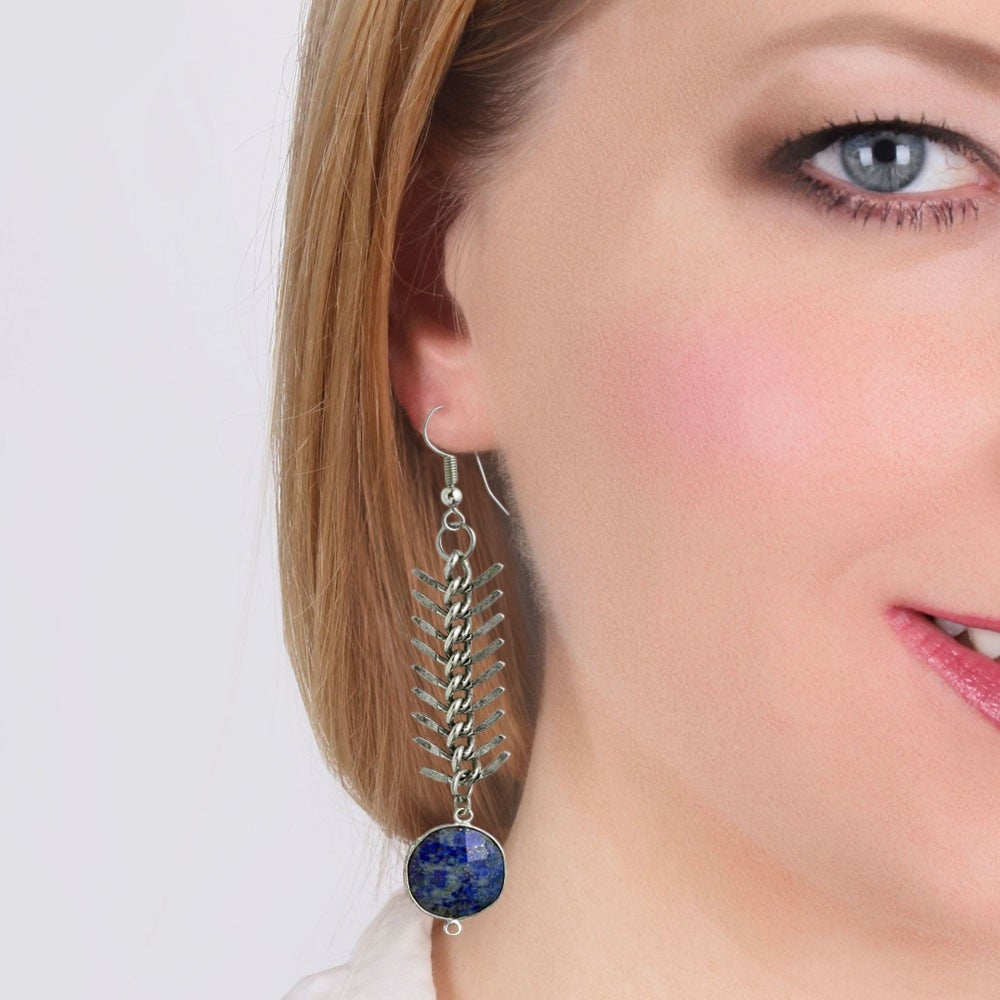 Image of LAPIS HERRINGBONE EARRINGS