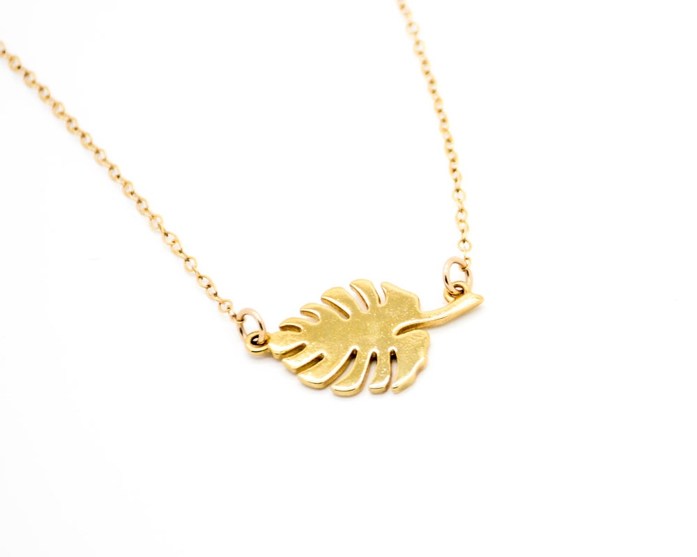 Image of Monstera Leaf Necklace Pre-Sale 5-6 weeks to ship!
