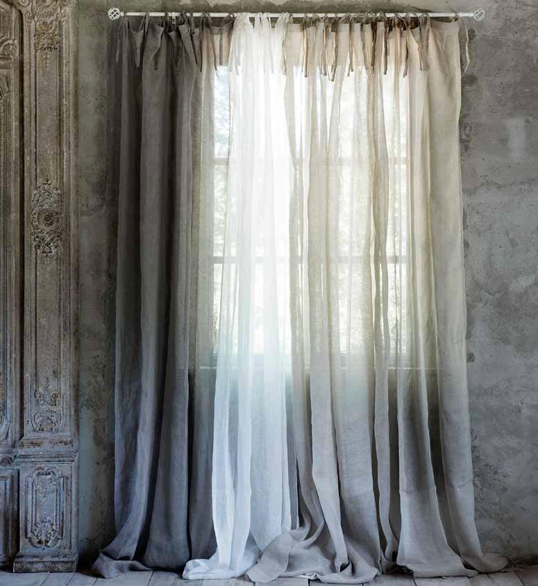 tenda in puro lino con laccetti