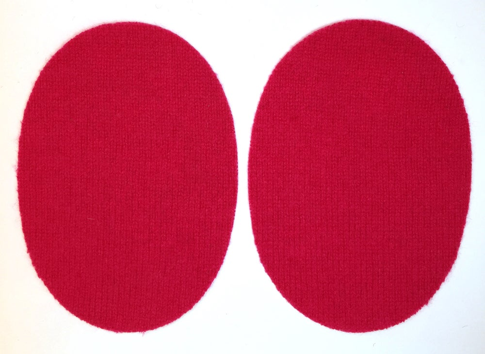 Image of IRON-ON CASHMERE ELBOW PATCHES - CLASSIC RED OVALS