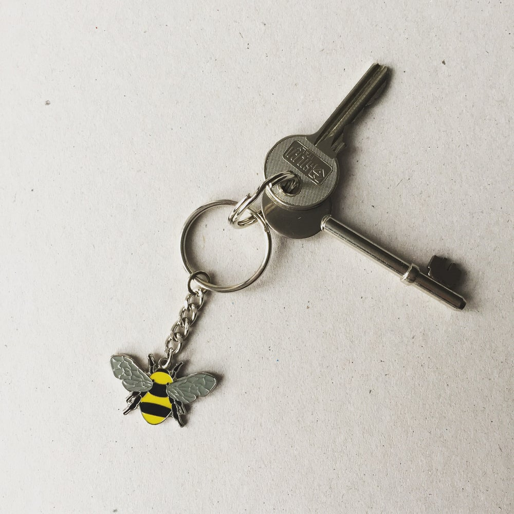 Image of Beekeeper Manchester Bee Enamel Keyring