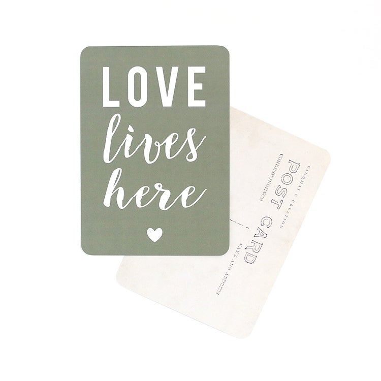 Image of Carte Potsale LOVE LIVES HERE / KAKI