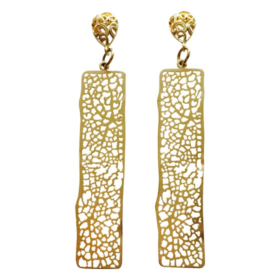 Image of MOSAIC LONG BAR EARRINGS