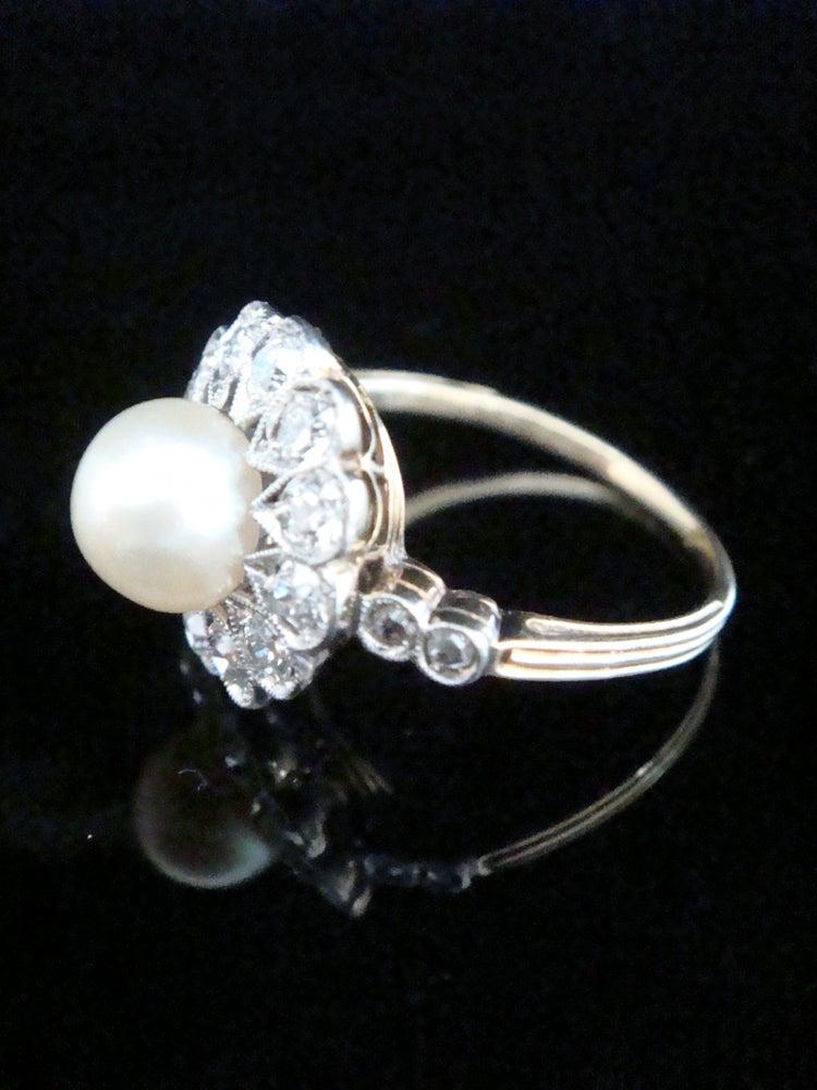 Image of EDWARDIAN 18CT PLATINUM NATURAL PEARL & DIAMOND CLUSTER RING