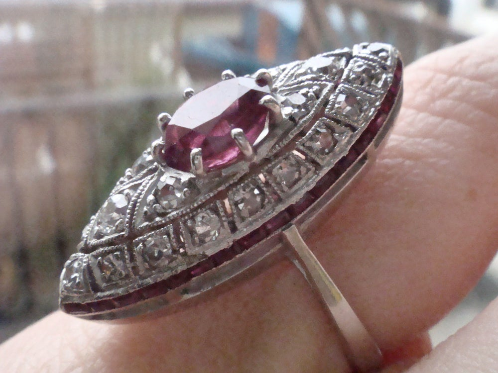 Image of STUNNING ART DECO 18CT RUBY AND DIAMOND MARQUIS RING