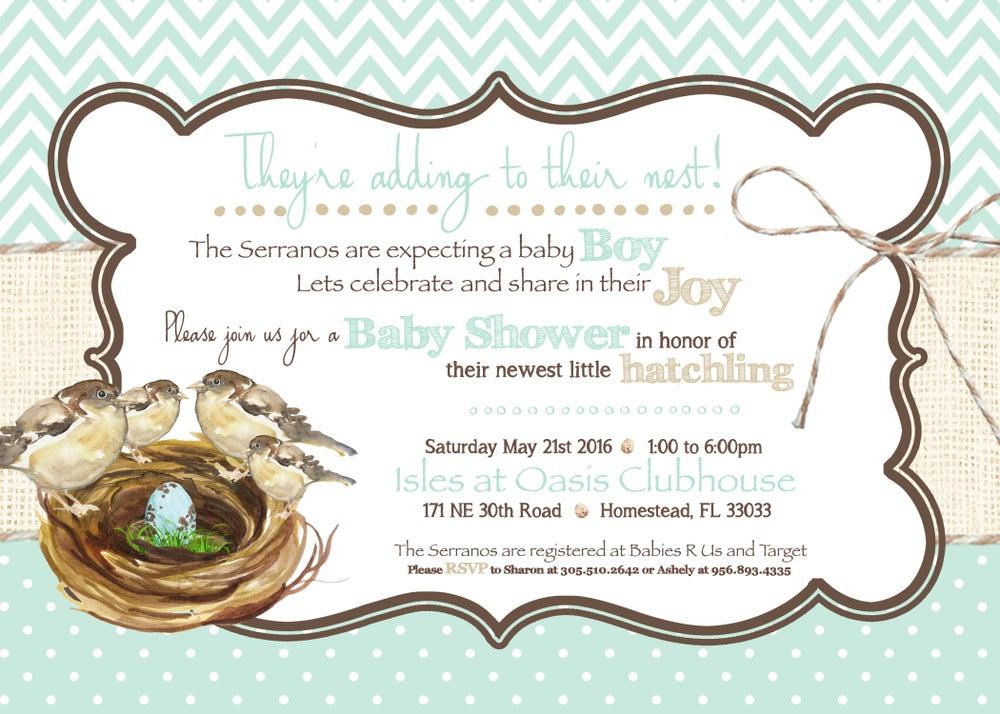 Image of Growing Nest Baby Shower Invitation- baby birds, robins egg blue, burlap, chocolate, burlap, baby