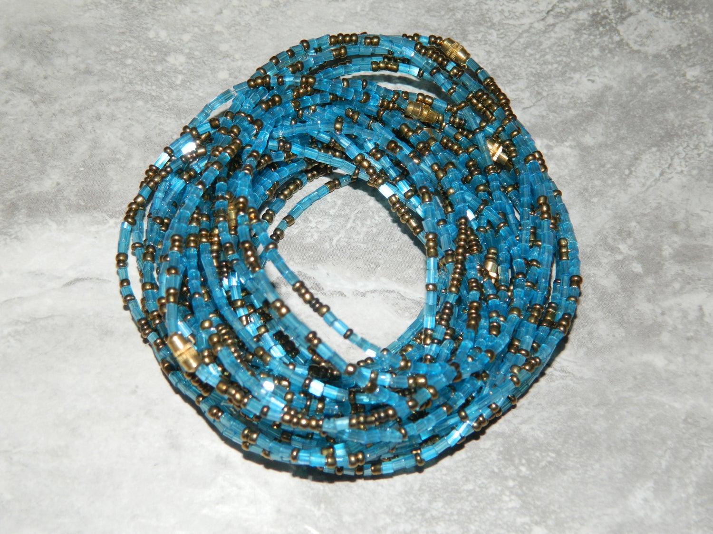 Image of Sky blue and gold jewel waist bead
