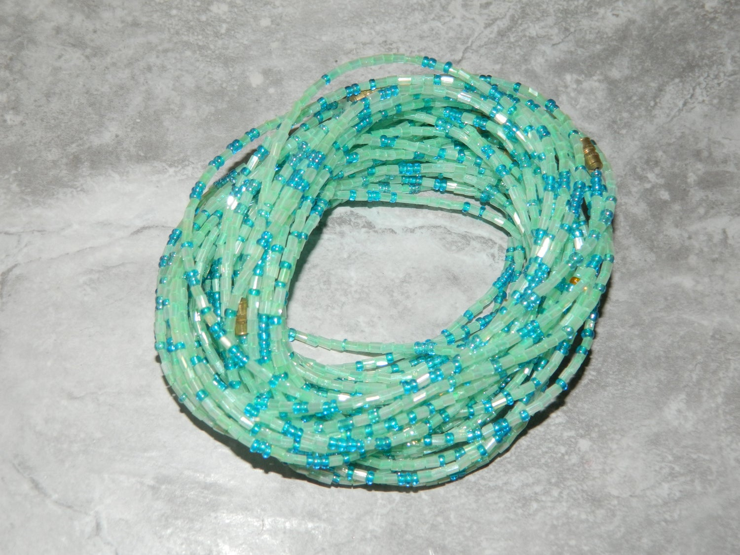 Image of Aqua and blue jewel waist bead