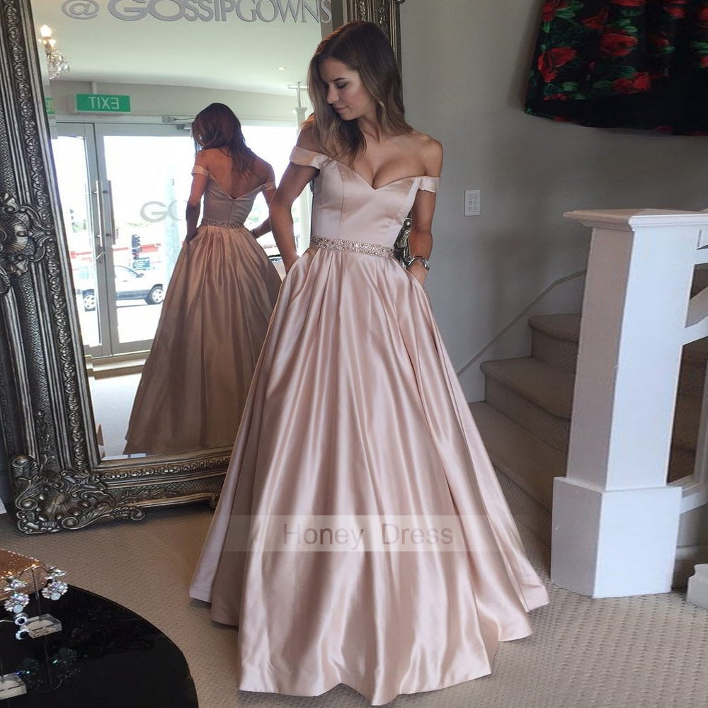 Image of Champagne Pink Satin Off-The-Shoulder A-Line BallGown Long Prom Dress With Beaded Sash