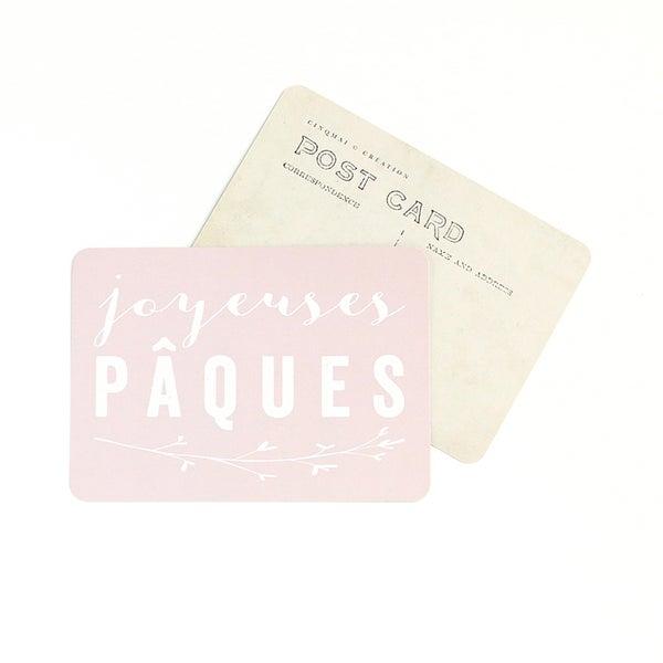 Image of Carte Postale JOYEUSES PÂQUES / ROSE POUDRE