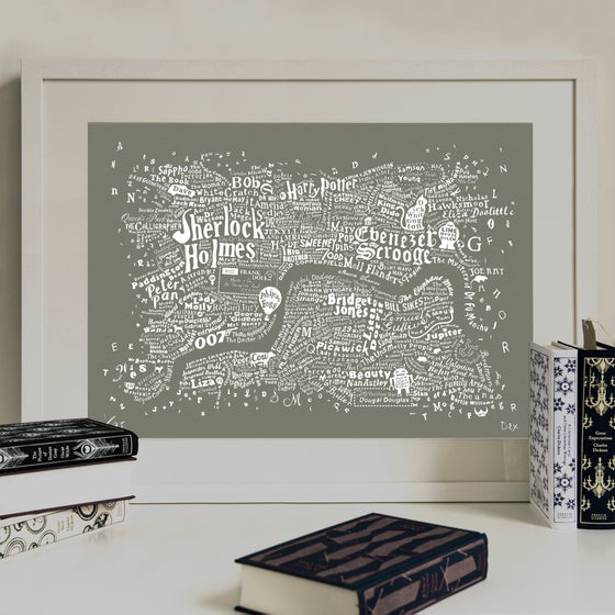 Image of Literary Central London Map (grey screenprint, 2015)
