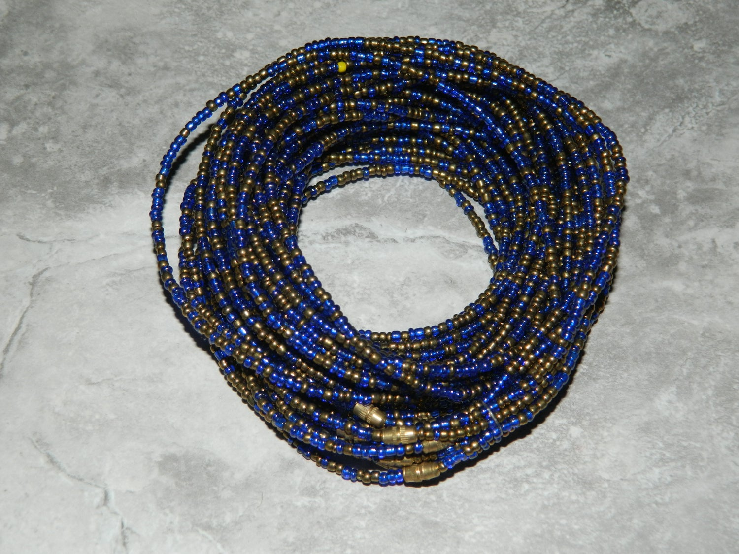 Image of Blue and gold waistbead