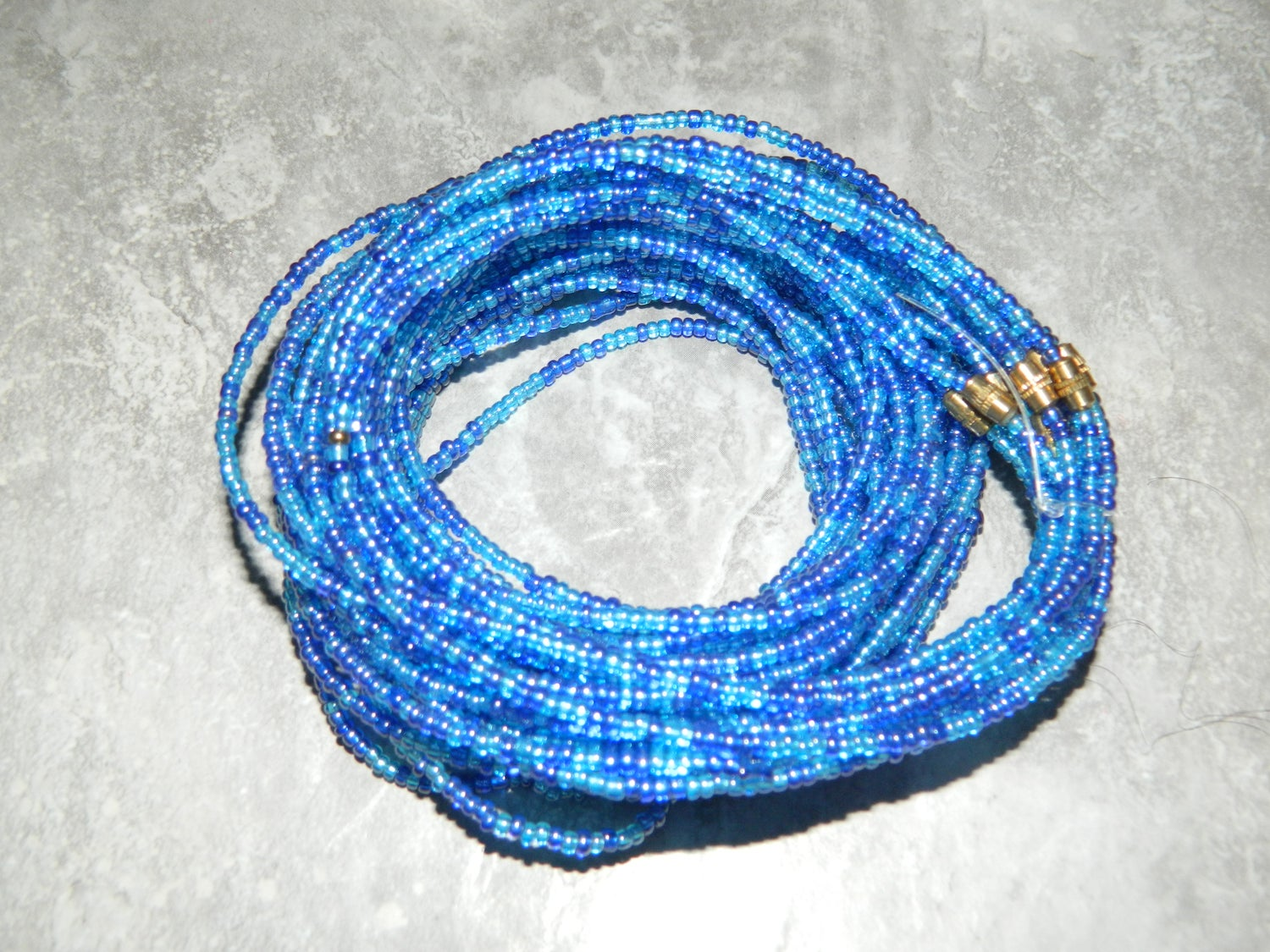 Image of Royal blue and light blue waist bead
