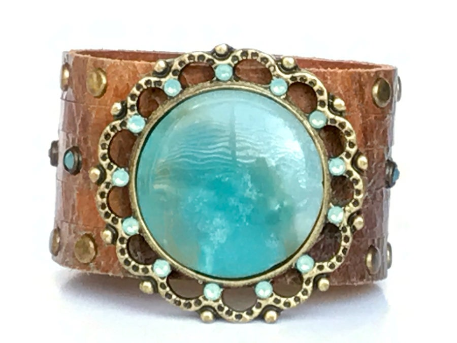 Image of handmade leather and swarovski crystals BRACELET with Chinese Amazonite