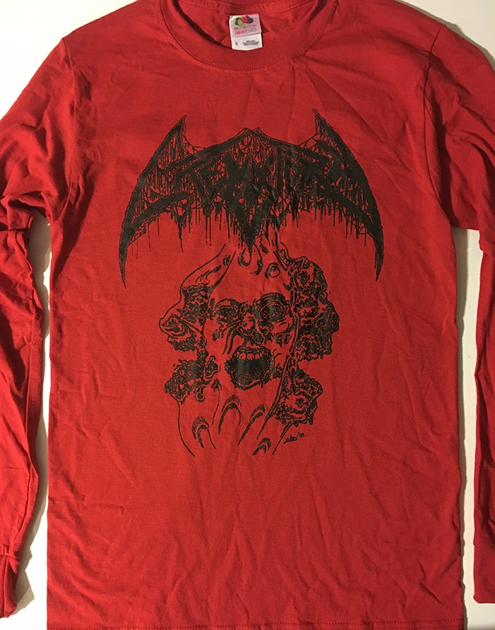 "Image of Crematory "" Three Faces "" T shirt Red Long Sleeve"