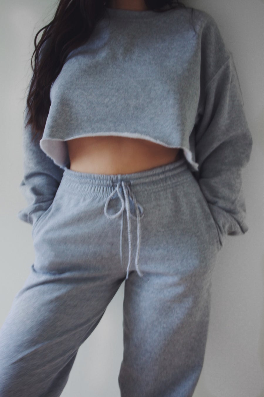 Image of Cropped Sport Grey Tracksuit Top