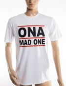 Image of The 'OnaMadOne' WHITE (Red&Black) Tee