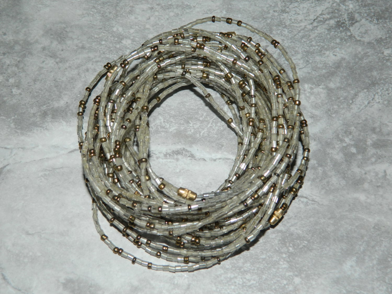 Image of Clear and gold glass bead