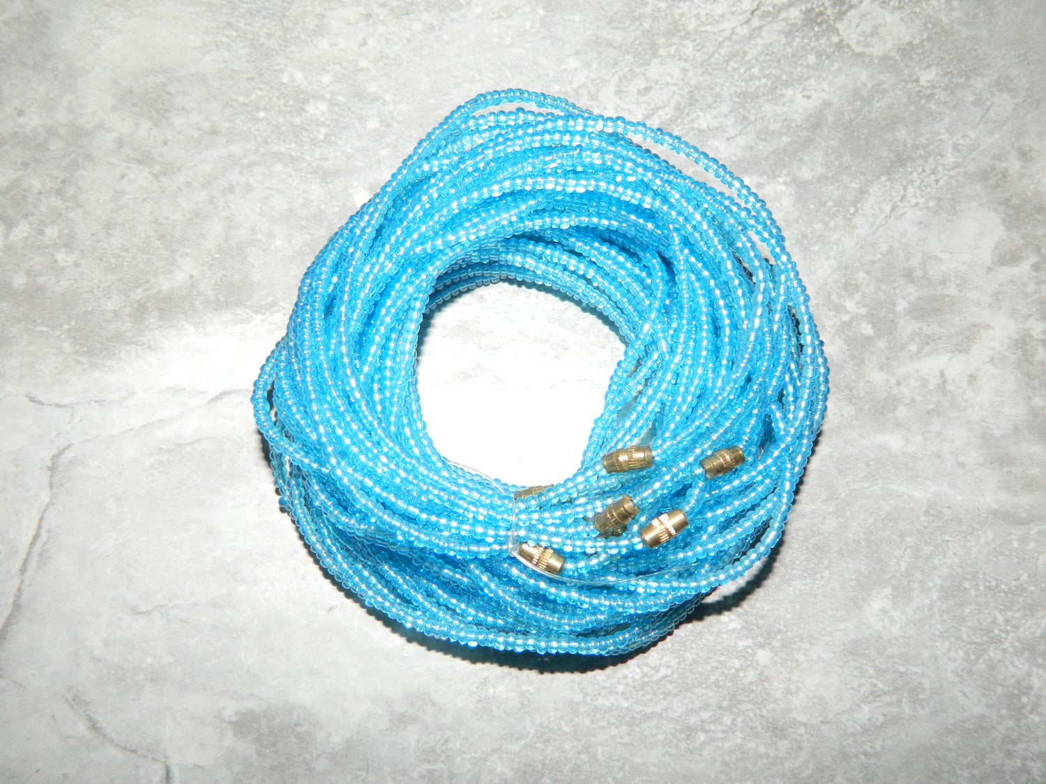 Image of Clear blue waist bead