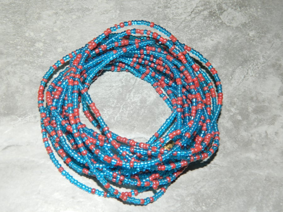 Image of Blue and red waist bead