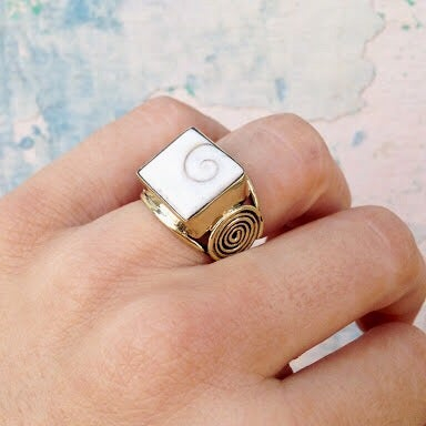 Image of Square Cowrie Ring |Shantique Designs|