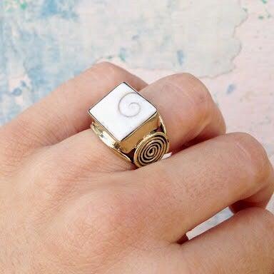 Image of Square Cowrie Ring |Shantique Designs|