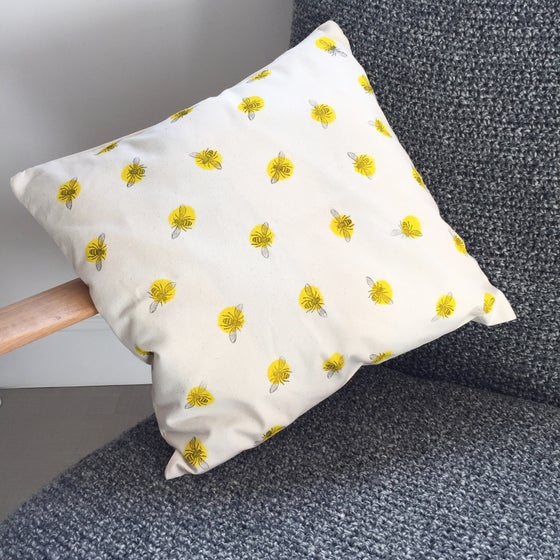 Image of Bee Cushion Cover - Square - Hand Printed