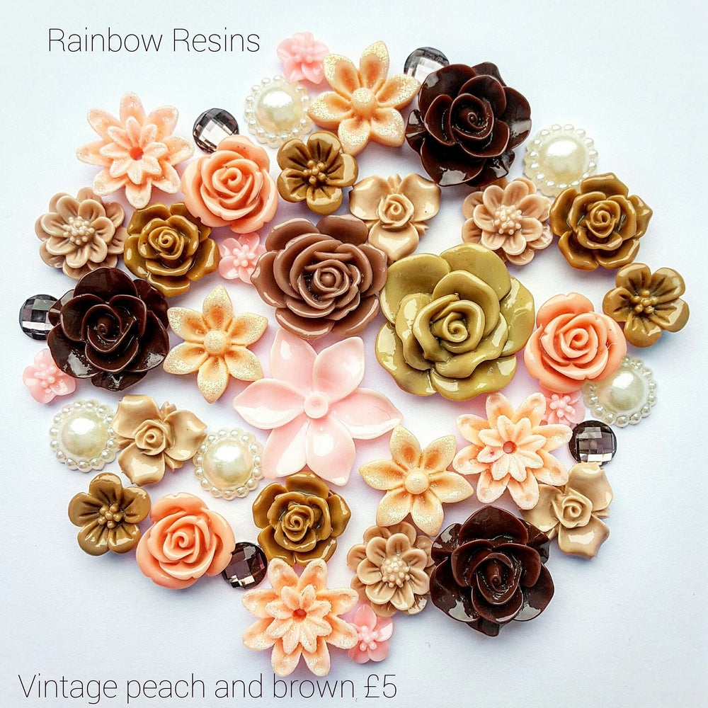 Image of Vintage peach and brown