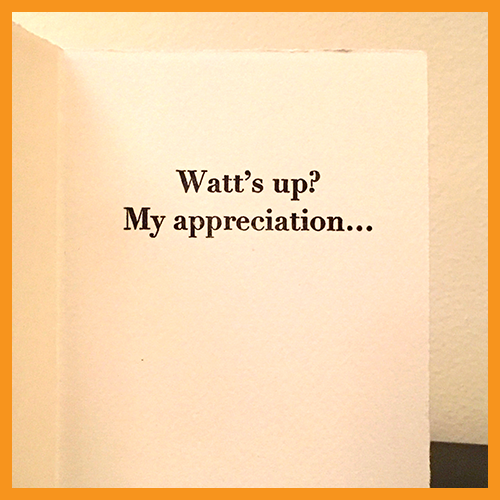 Image of THANK YOU - WATTS UP - BOX OF 8