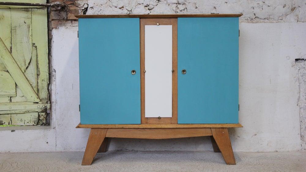 Image of Petit buffet aux pieds compas - meuble télé