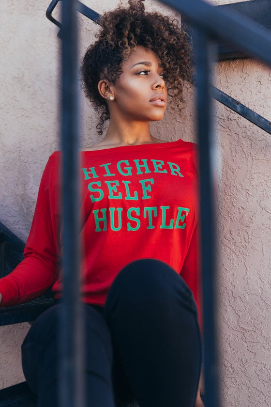 Image of Higher Self Hustle Flowy Long Sleeve Off Shoulder Tee