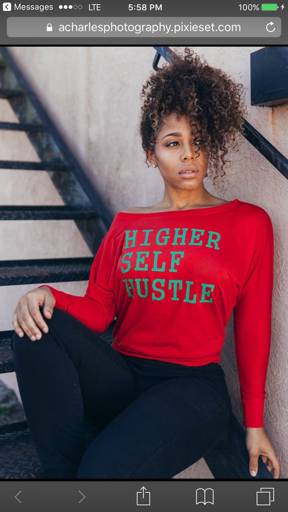 Image of Higher Self Hustle Flowy Long Sleeve Off Shoulder Tee