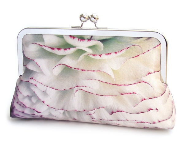 PomPom petals clutch bag, silk purse, frilly ranunculus flower - Red Ruby Rose