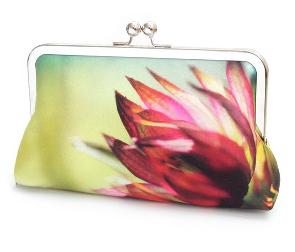 Pink flower clutch bag, silk Astrantia bloom, wedding bridal purse - Red Ruby Rose