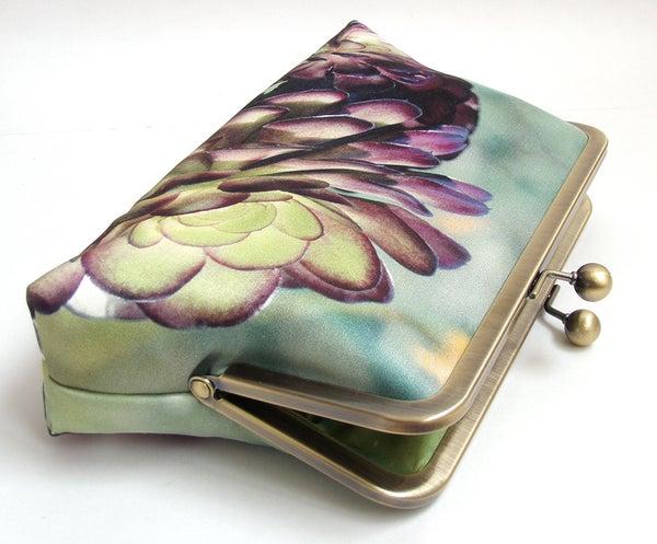 Clutch bag, succulent silk purse, green, purple petals, desert cacti plant, bridesmaid gift - Red Ruby Rose