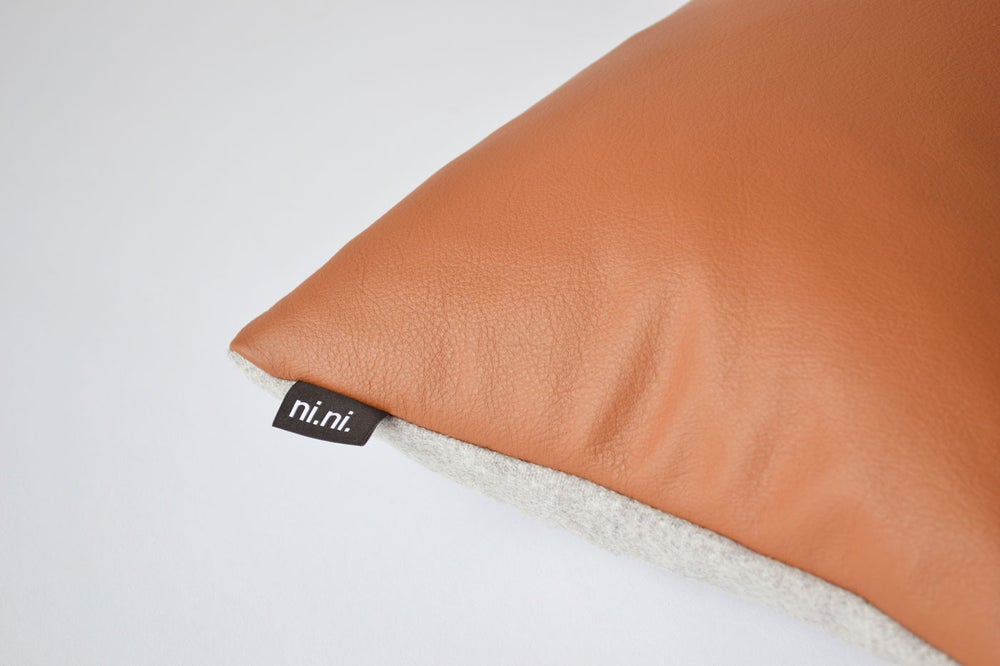 Image of Leather Tawny Cushion Cover - Rectangular