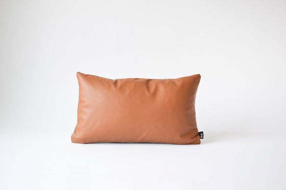 Image of NEW! Leather Tawny Cushion Cover - Rectangular