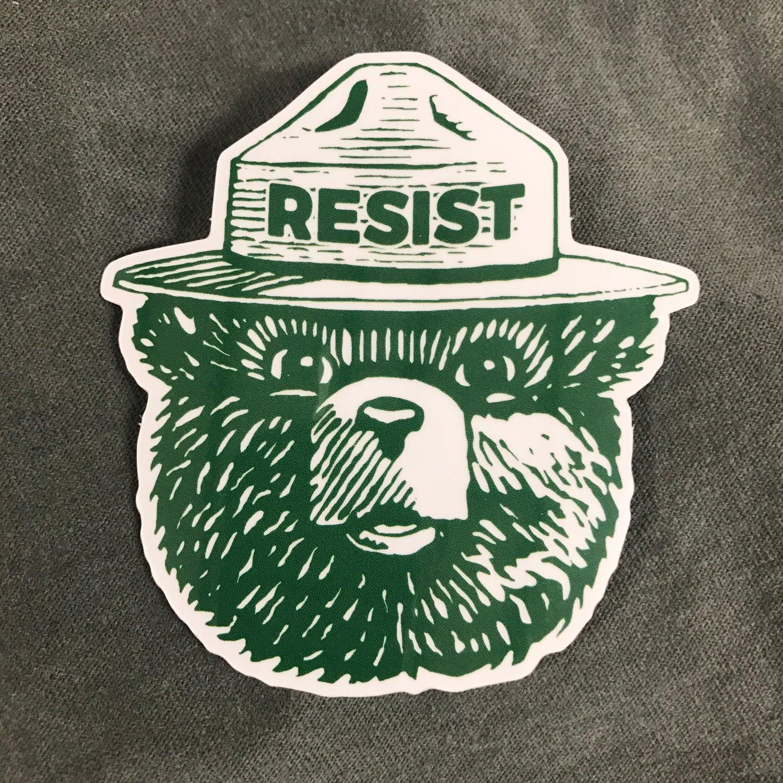Image of Resist Trump Bear Lapel Pin & Sticker Pack