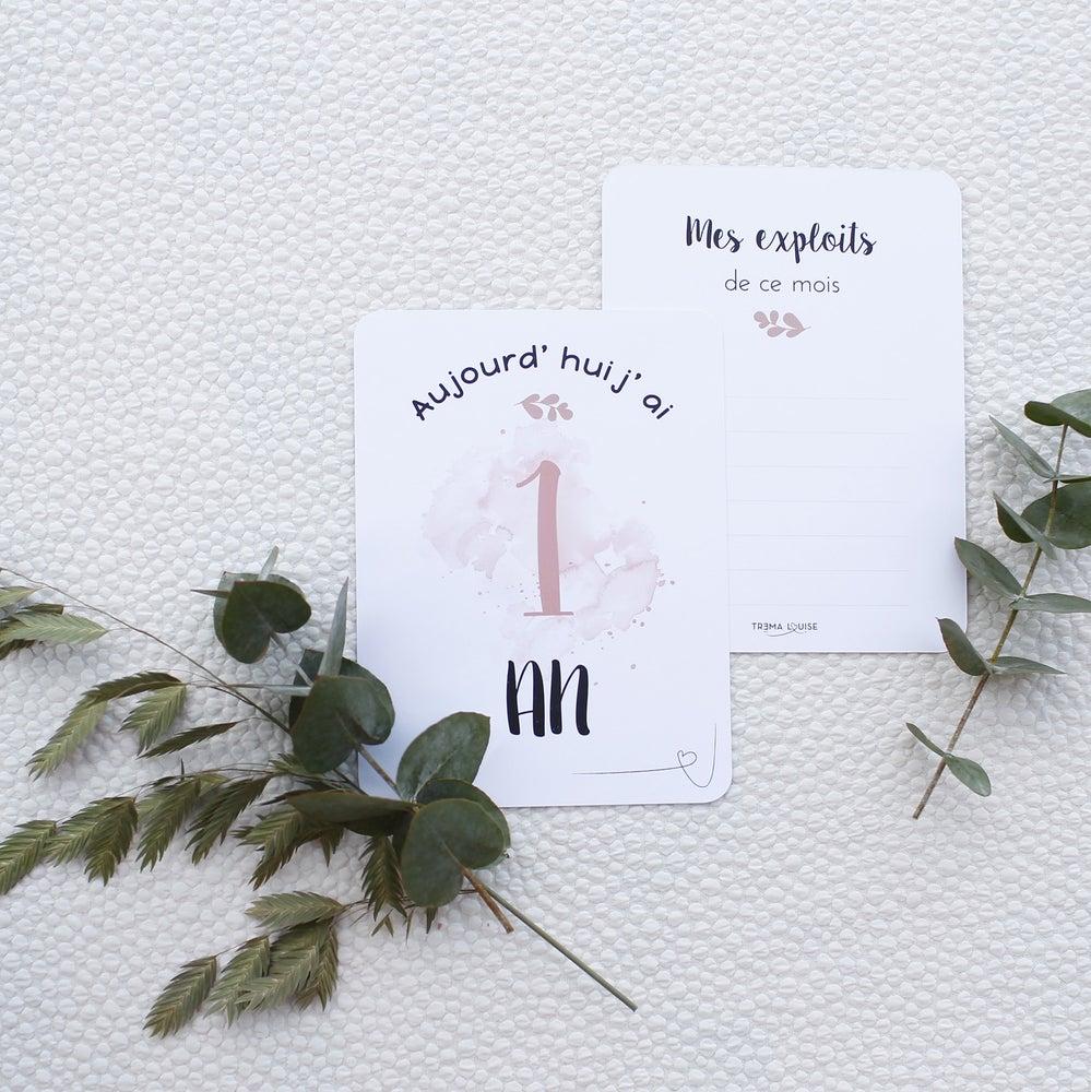 """Image of Cartes Etapes Bébé Fille """"Première Année"""" ROSE"""