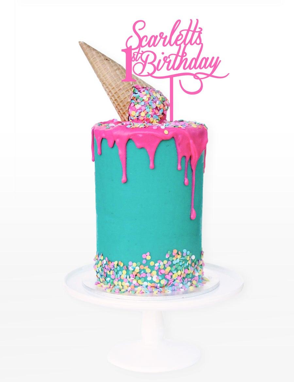 Image of Name & Age Script Cake Topper