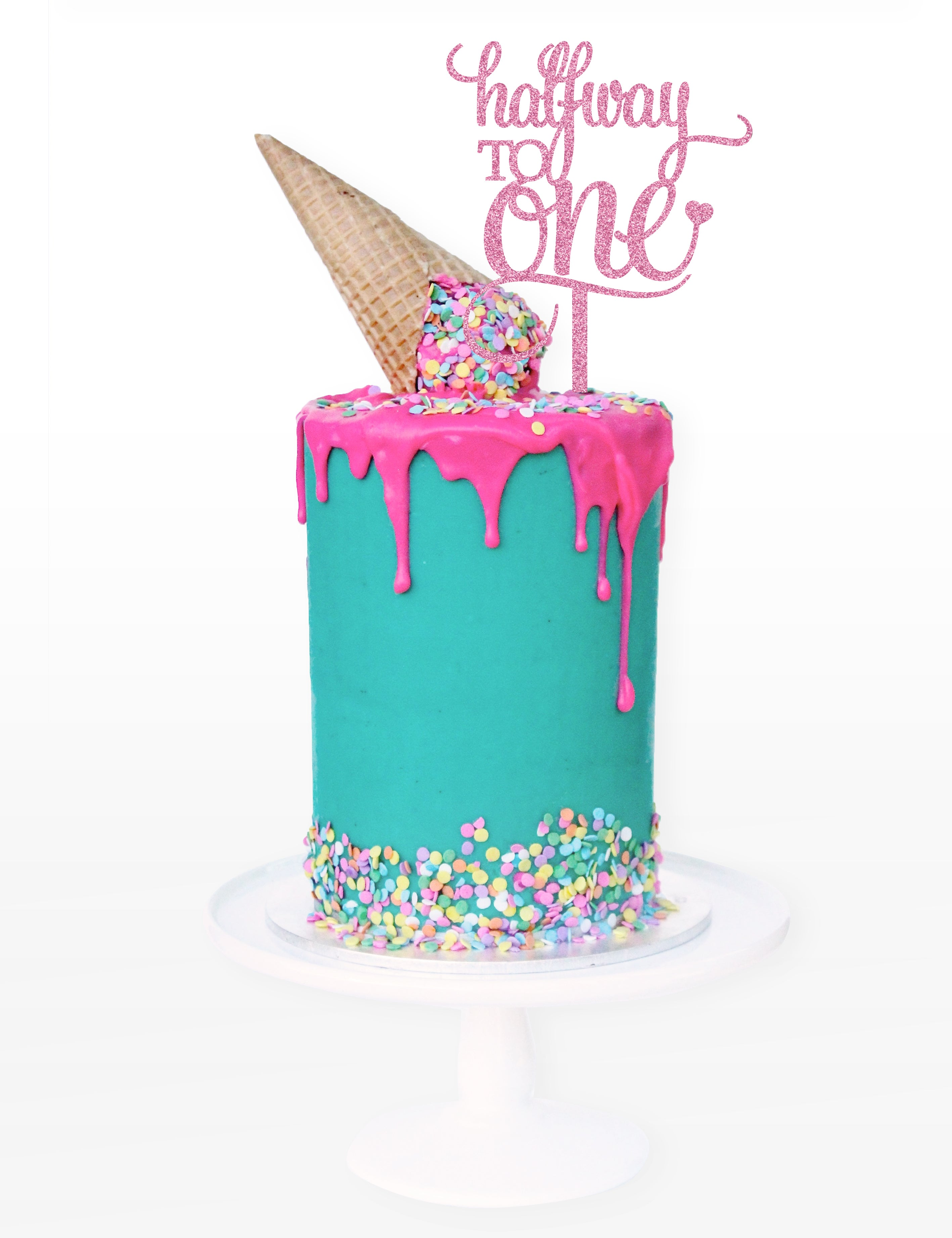 Alison Caroline designs Halfway to One Cake Topper