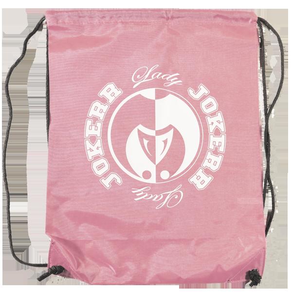 Image of Lady Jokerr Drawstring Bag/Backpack (Pink & White)