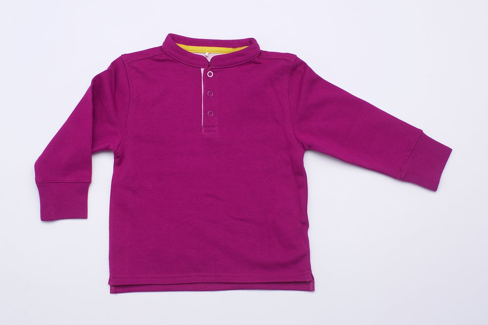 Image of Orient Collar Fleece Shirt . Berry Red