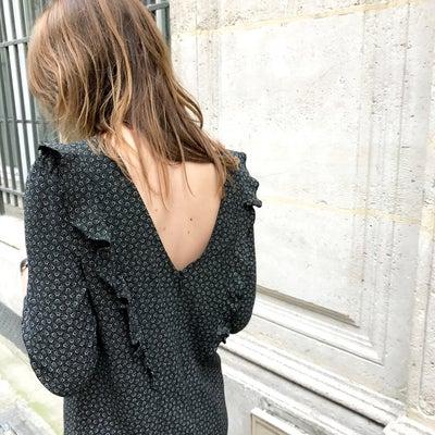 Robe Elena Noire à pois - Maison Brunet Paris