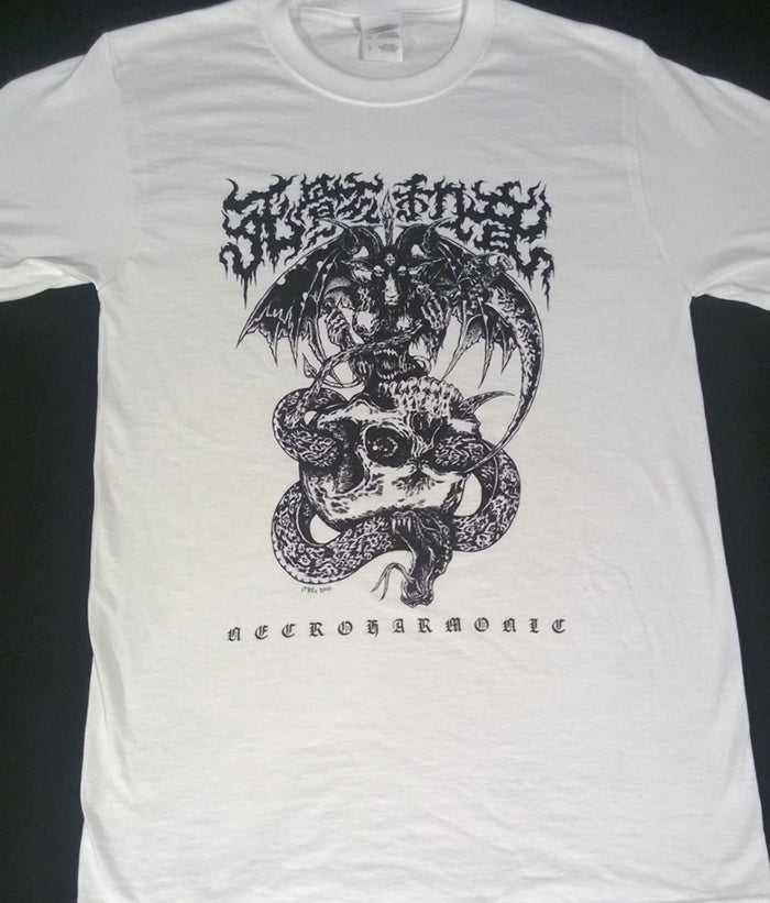 Image of Necroharmonic Kanji Death Metal White Baphomet T shirt