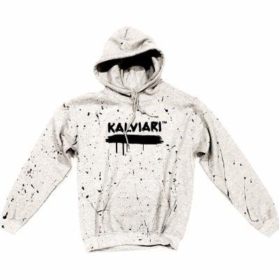 Image of KALVIARI SIGNATURE SPLATTER GREY PULLOVER HOODIE