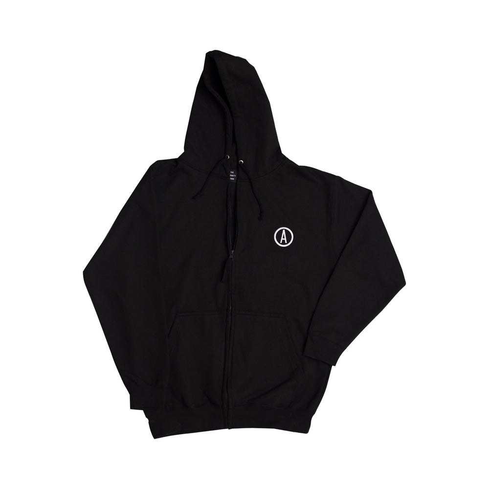 Image of 'REBORN' Full Zip Hoodie - Black