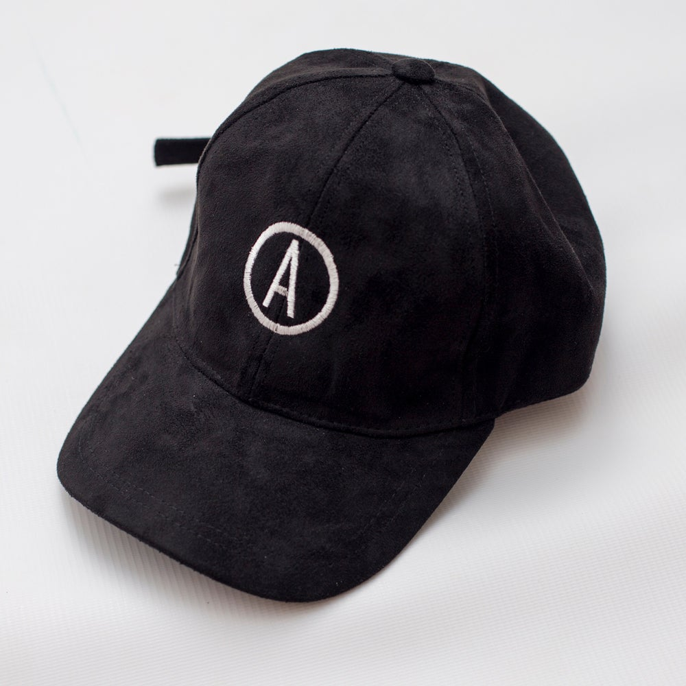 Image of 'REBORN' Suede Baseball Cap - Black